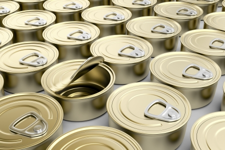One defective tin can in multiple rows of tin cans Stock Photo