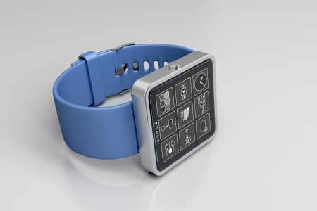 oled: Smartwatch on glossy gray background
