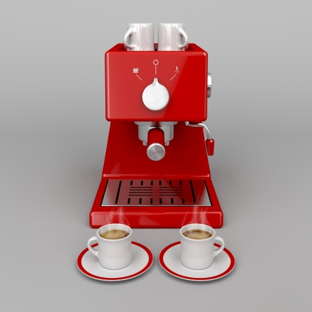 Professional espresso machine on gray background