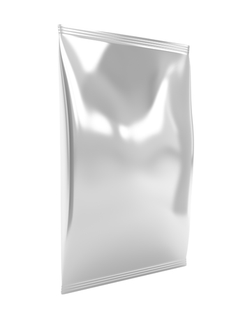 Silver food packaging bag, isolated on white background photo