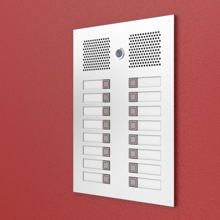 door bell: Apartments intercom on red wall