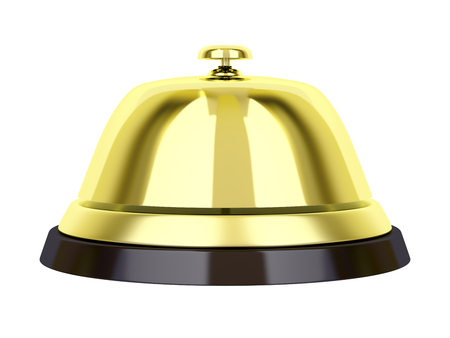 Golden reception bell isolated on white  photo