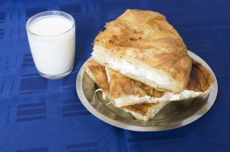 Burek with cheese and yogurt photo