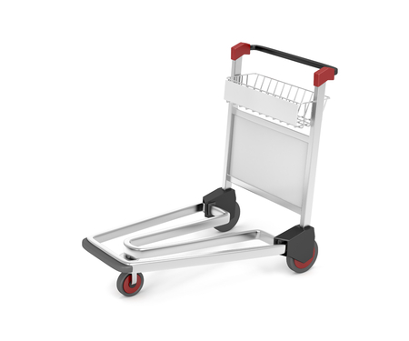 dolly bag: Airport baggage trolley on white
