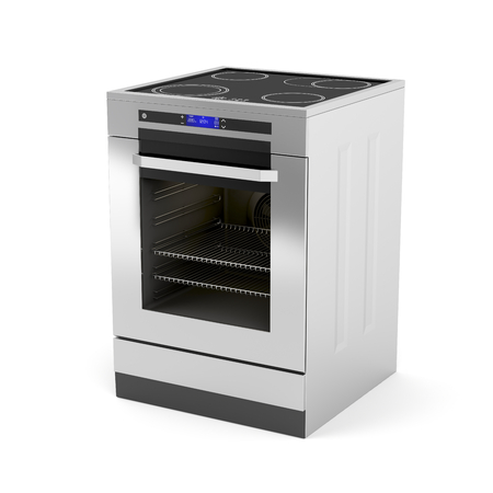 Modern electric cooker on white