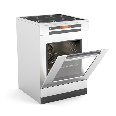 broiling: Modern electric stove with opened door on white background