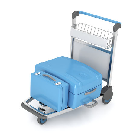 dolly bag: Airport trolley with blue suitcases on white Stock Photo