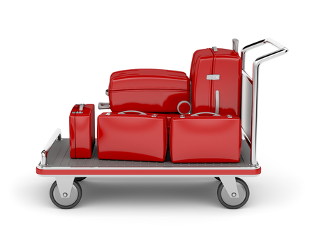 Airport luggage cart with red suitcases on white photo