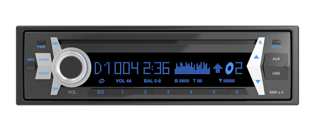 audio player: Car audio player isolated on white Stock Photo