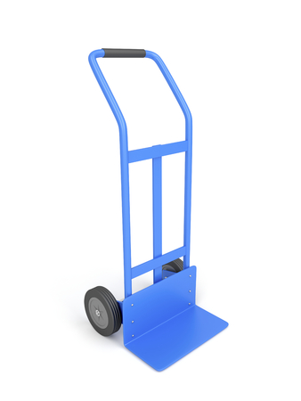 sack truck: Blue hand truck on white background Stock Photo