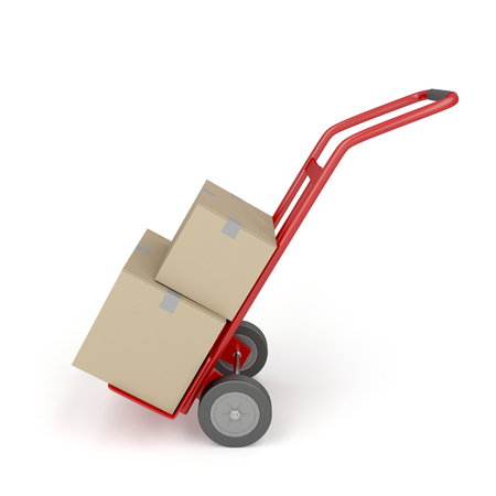 dolly: Hand truck loaded with cardboard boxes Stock Photo