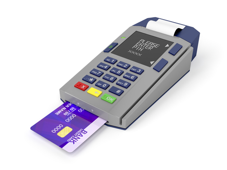 Credit card and card reader on white background photo
