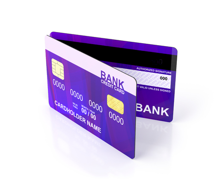 Credit cards on white background photo