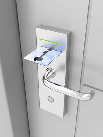 Electronic lock on door with keycard Stockfoto