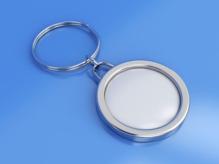 key in chain: Key ring with space for text on blue background