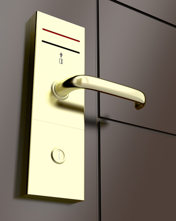 cardkey: Electronic lock on door, 3d rendered illustration