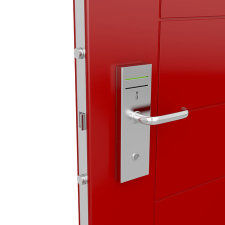 cardkey: Entrance door with electronic keycard lock