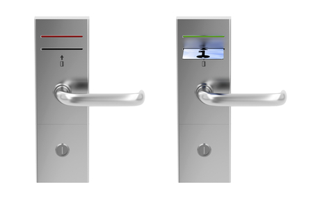 Keycard electronic locks isolated on white photo
