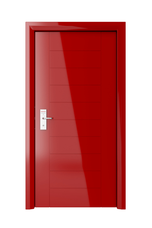 cardkey: Red door with electronic keycard lock isolated on white background