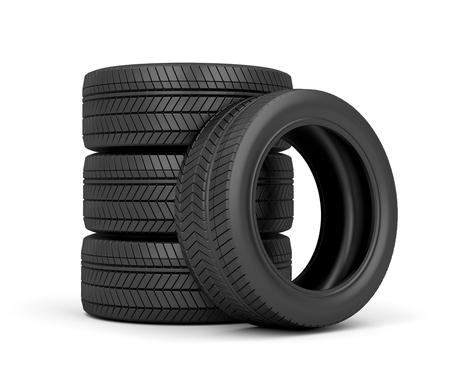 Set of car tires on white background photo