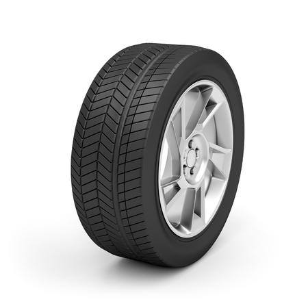 radial tire: Car wheel on white background