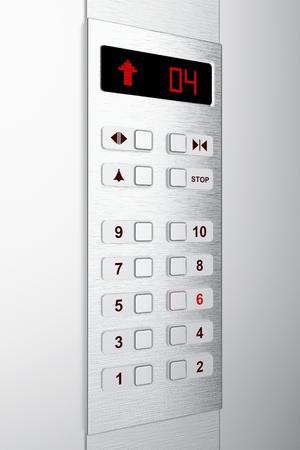 panel de control: Panel de control del ascensor con un sexto piso seleccionado Foto de archivo
