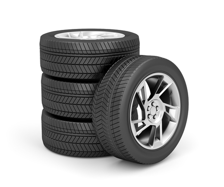 Set of car wheels on white background photo