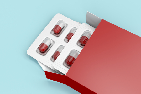 Capsules in blister pack in red box