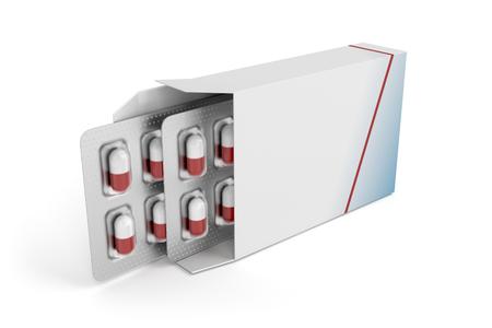 Pills in blister packs in box