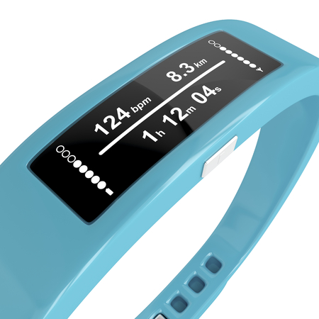 Close-up image of fitness tracker on white background Stockfoto