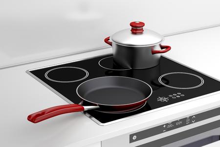steel pan: Sartén y olla en la estufa de inducción
