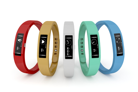 wearable: Five fitness trackers with different interfaces and colors  Stock Photo