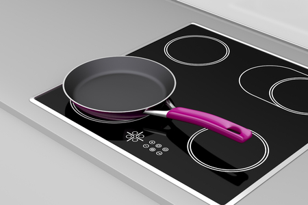 Frying pan at the induction cooktop photo