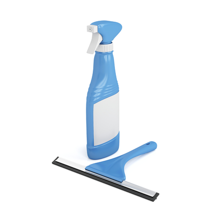 squeegee: Squeegee and window cleaner spray bottle on white background
