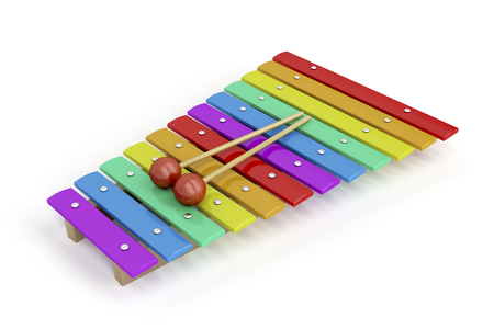 Colorful childrens xylophone on white background photo