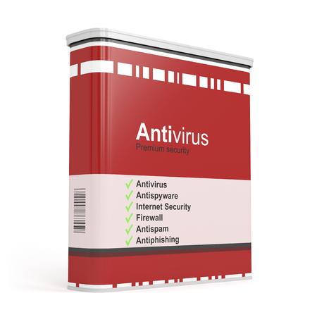 anti virus: Antivirus software box on white background