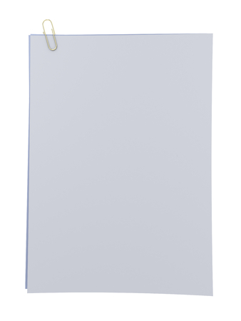 blank papers: Blank papers attached with paperclip, isolated on white background