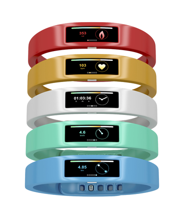 Activity trackers with different interfaces and colors photo