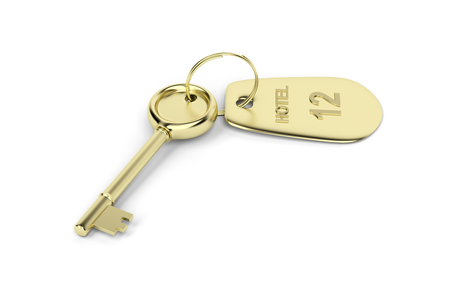 Hotel key with a room number on white background