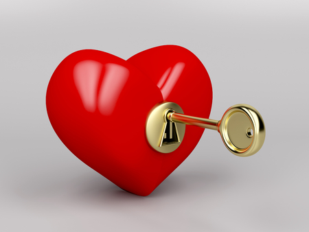 Red heart with gold key and keyhole photo