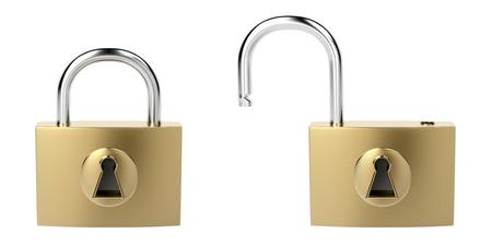 unlocked: Locked and unlocked padlocks, isolated on white background Stock Photo