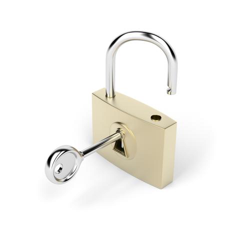 Padlock and key on white background photo