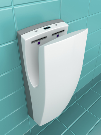 wc: Vertical hand dryer in public WC Stock Photo