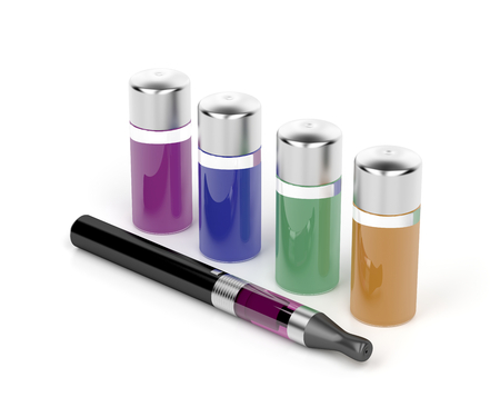 refill: Electronic cigarette and variety refill bottles Stock Photo