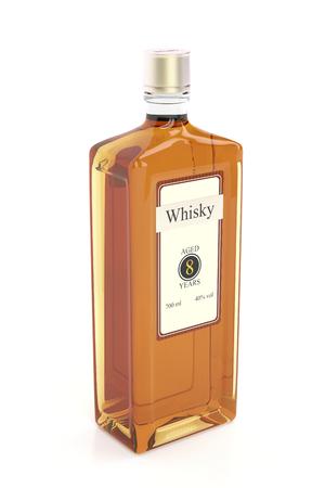 bottle label: Whisky bottle on white background Stock Photo