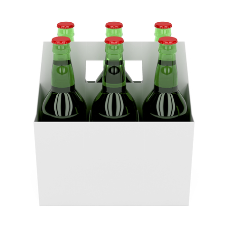 6 pack: Six pack of beer bottles on white background
