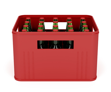 Beer crate on white background photo