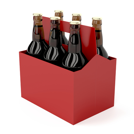 Six pack of dark beer bottles on white background