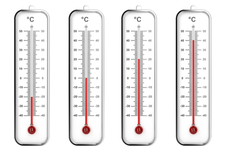 celsius: Indoor thermometers with different levels - Celsius scale Stock Photo