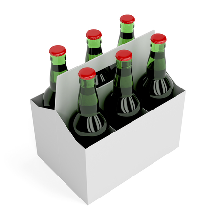 6 pack: Six pack of lager beer bottles on white background Stock Photo